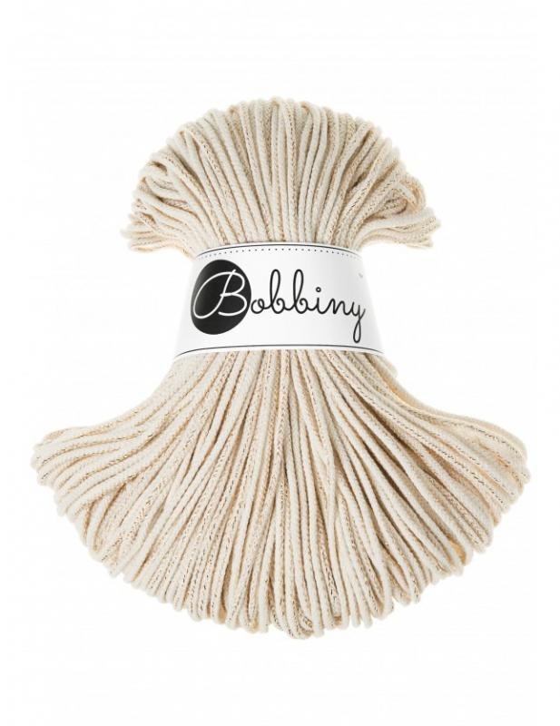 Bobbiny JUNIOR cord 3 mm NATURAL ZLATO X-0501